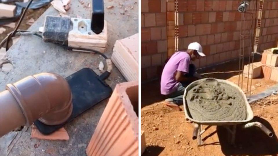 Links steht ein Plastikrohr auf dem Lautsprecher eines Smartphones. Rechts kniet ein Bauarbeiter neben einer vollen Schubkarre