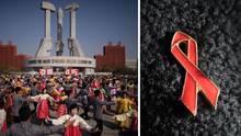 Links: Nordkoreaner feiern den Geburtstag von Staatsgründer Kim Il Sung. Rechts: Die Aids-Schleife