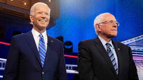 US-Wahl 2020: Joe Biden (l.) und Bernie Sanders beim zweiten TV-Duell der demokratischen Kandidaten
