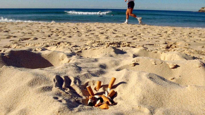 Zigarettenkippen liegen an einem Strand
