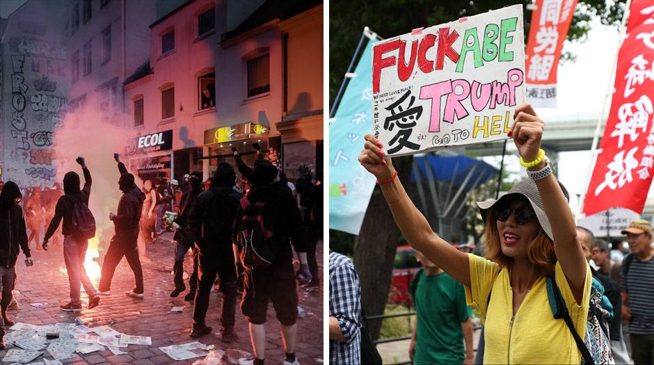 Links: Die Ausschreitungen bei den G20-Protesten 2017 in Hamburg. Rechts: Proteste in Osaka beim Gipfel 2019