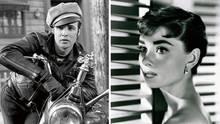 Schwarz-Weiß Bild von Hollywood-Ikonen.
