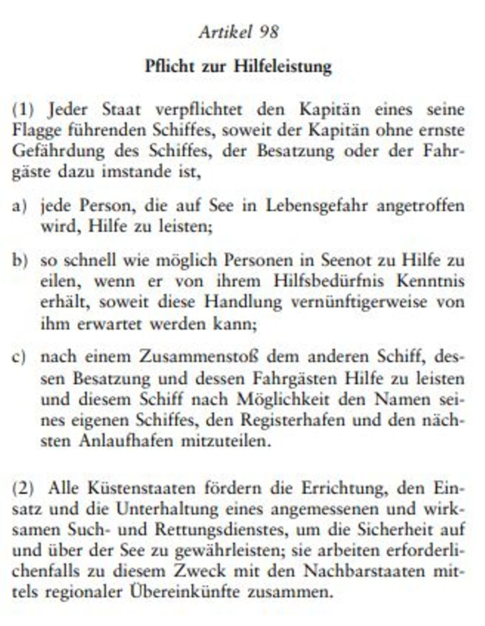Artikel 98 desSeerechtsübereinkommens