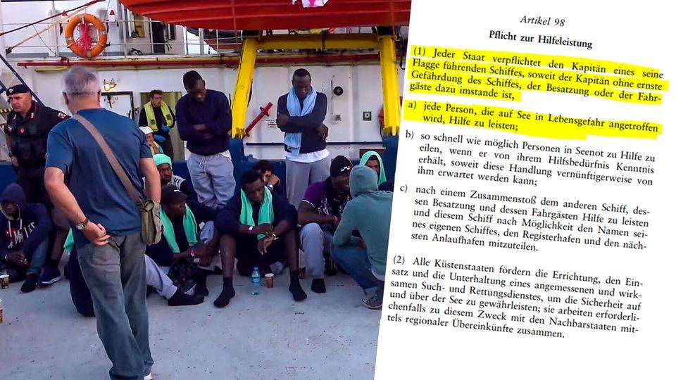 """Einige der von der """"Sea-Watch 3"""" aus Seenot geretteten Menschen"""
