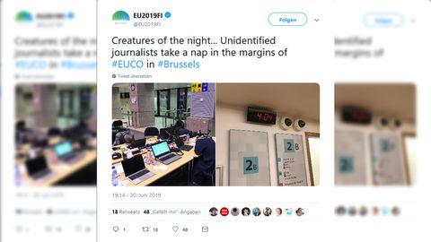 Ein Tweet des finnischen Ratsvorsitzes zeigt schlafende Journalisten in Brüssel