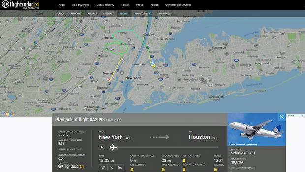 Der United-Flug 2098 führte von LaGuardia mit einer Warteschleife zum Newark Airport in New Jersey