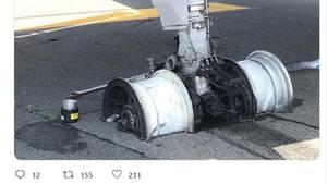 Die Felgen eines Flugzeug-Fahrwerks stecken im Beton einer Landebahn.