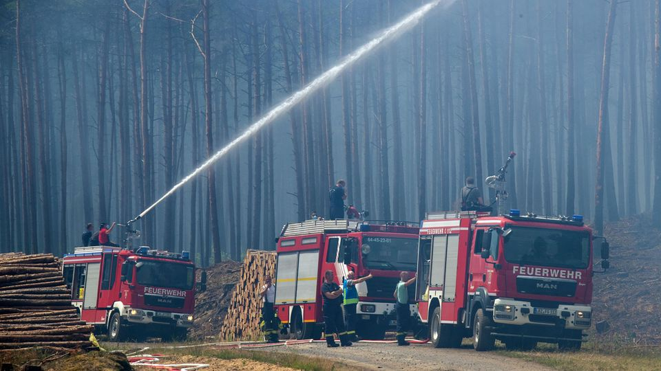 Auf einem Waldweg stehen drei Feuerwehrwagen. Der hinterste spritzt mit einer Wasserkanone in den verrauchten Wald hinein