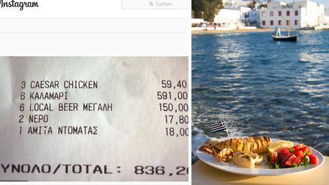 Kassenbon und Gericht eines Restaurants in Griechenland