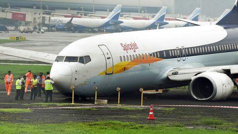 Am 1. Juli von der Landebahn abgekommen: die Boeing 737-800 von Jet Airways in Mumbai