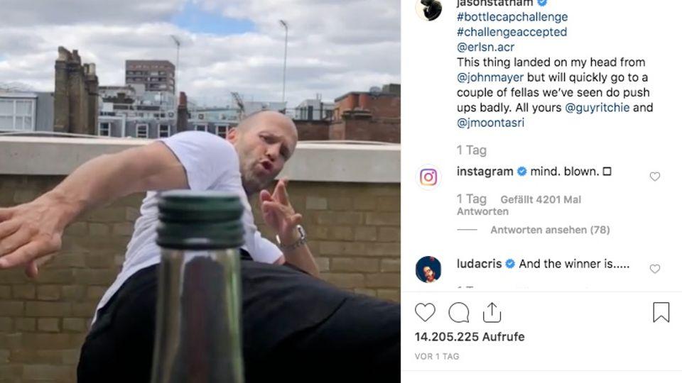 Schauspieler Jason Statham macht die #Bottlecapchallenge