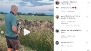 Rick Herrmann verzückt zwei Dutzend Kühe auf einer Weide in Oregon