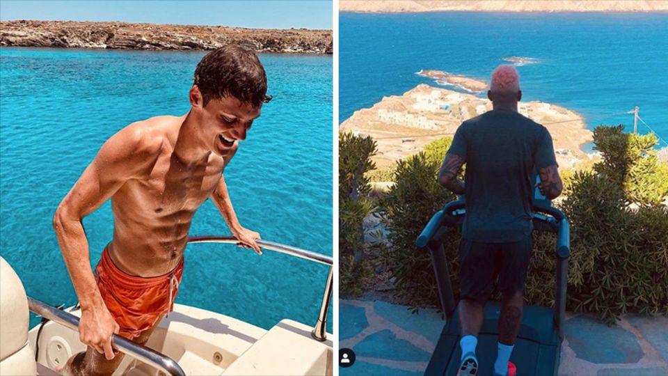 Links klettert ein junger Mann mit Sixpack und Badehose aus dem Meer auf ein Boot, rechts läuft ein Mann auf einem Laufband