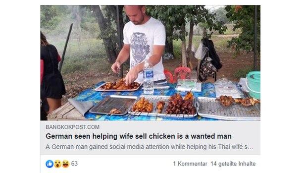 Interpol findet Mann wegen Facebook-Bild aus Thailand, auf dem er grillt.