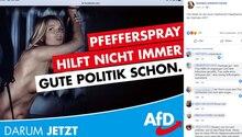 AfD-Wahlplakat einer nackten an eine Heizung gekettete Frau. Bildaufschrift: Pfefferspray hilft nicht immer. Gute Politik schon.