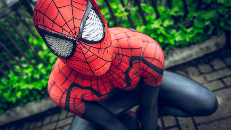 Ein als Mensch verkleideter Spiderman