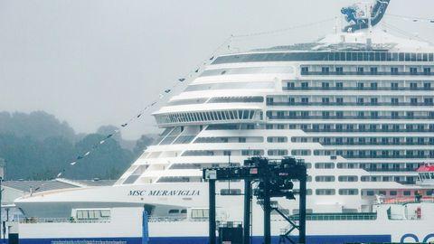 """Das Kreuzfahrtschiff """"MSC Meraviglia"""" liegt im Ostuferhafen"""