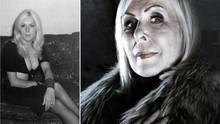 """Das linke Foto zeigt LindaCalvey in der Blüte ihrer Jahre. Sie verschickte es gern als Postkarte an ihre Fans. Gezeichnet mit """"The Black Widow"""" und einem Herzen."""