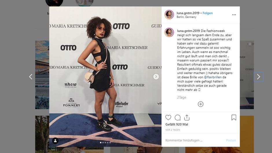 Ein Instagram-Screenshot der GNTM-Kandidatin Luna.