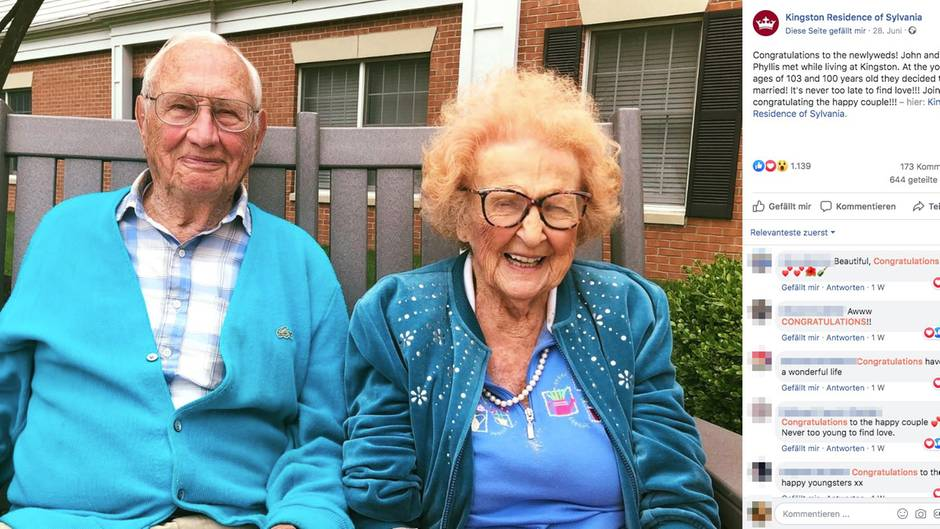Die beiden Senioren sind über 100 Jahre alt und frisch getraut
