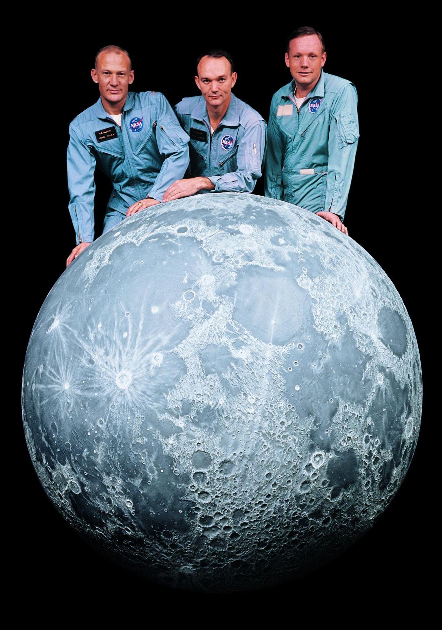 Die Besatzung der Apollo-11-Mission (v.l.n.r.): Buzz Aldrin, Michael Collins und Neil Armstrong, der Kommandant.