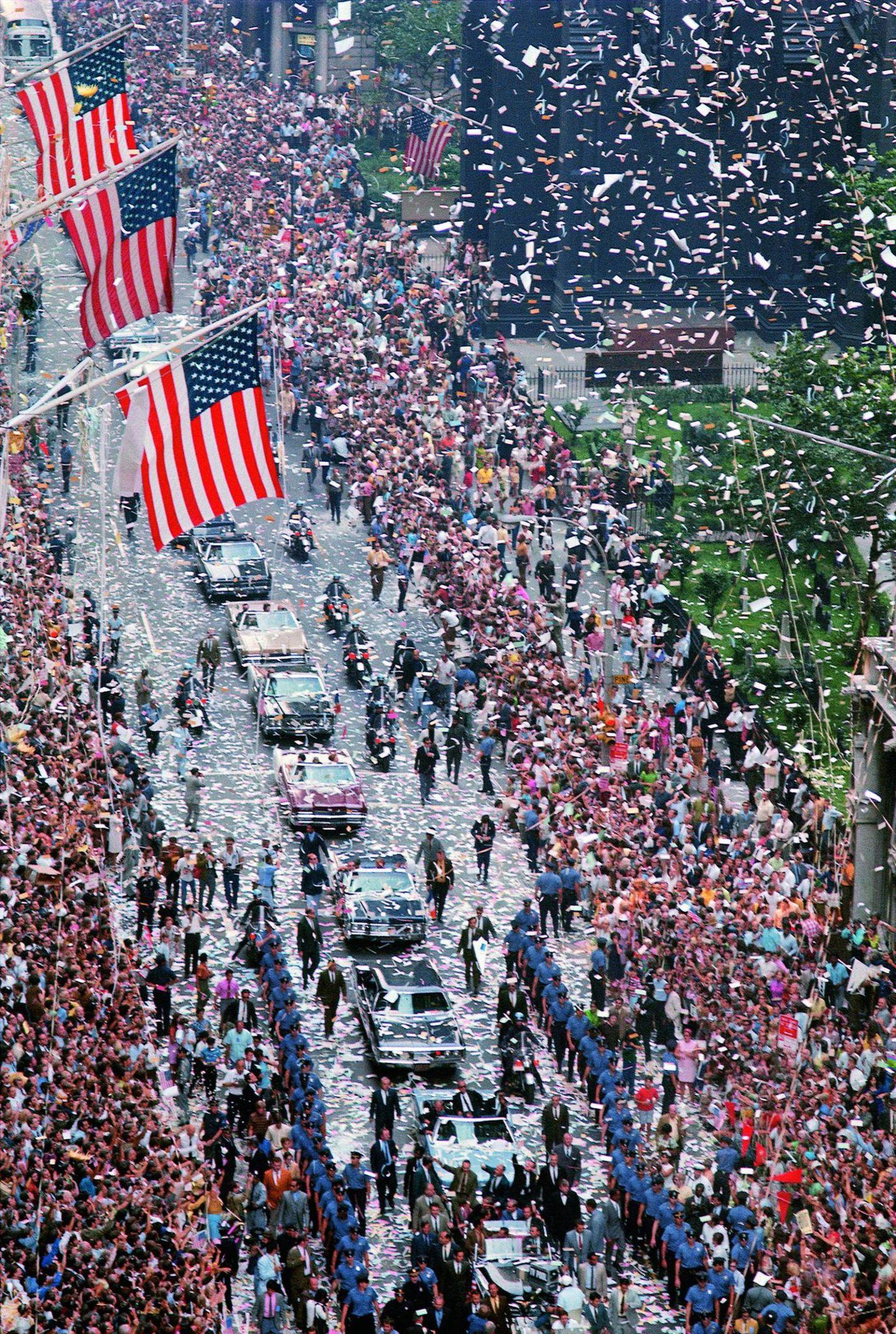 Konfetti-Parade für die Heimkehrer vom Mond: am 13. August 1969 in New York.