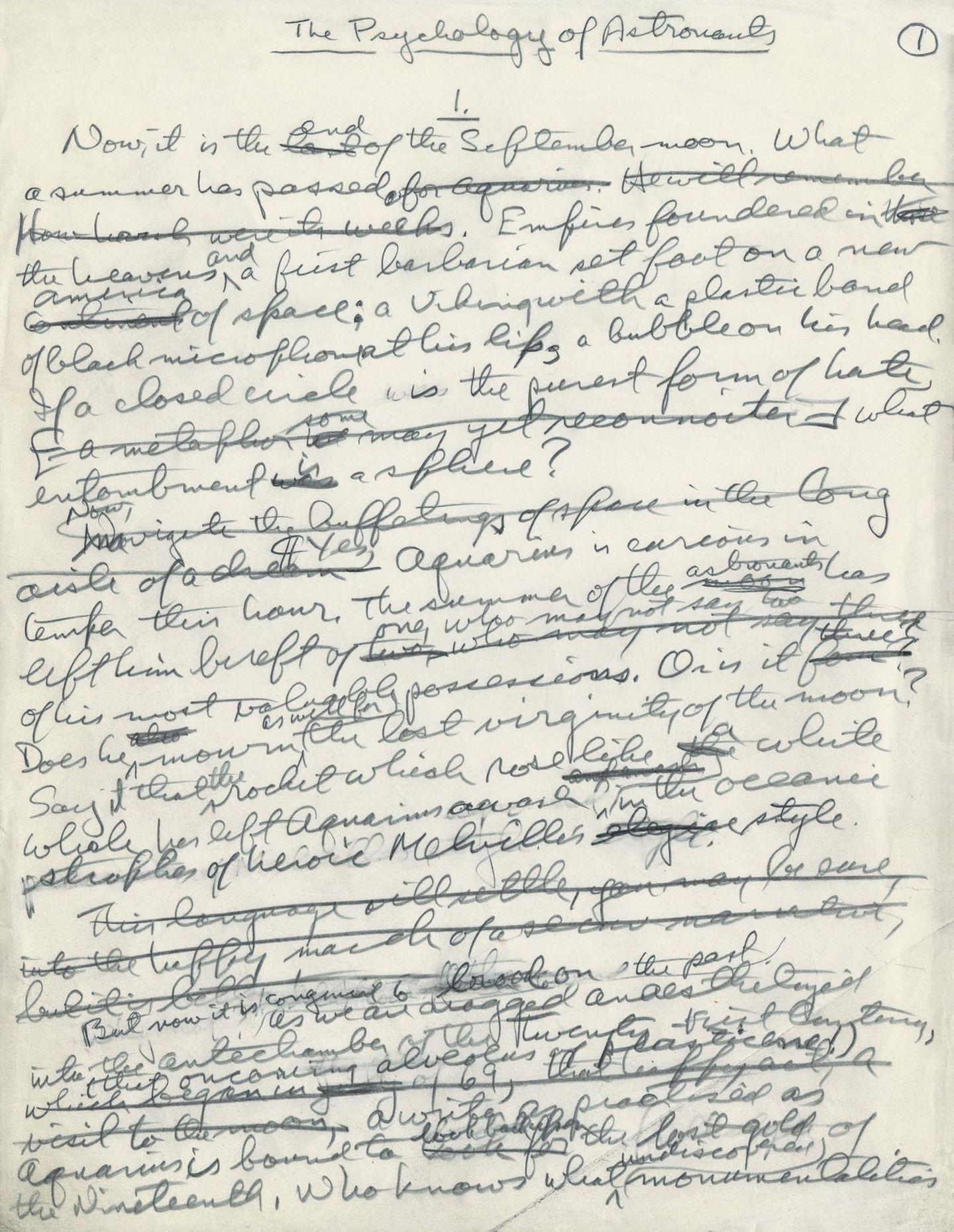 Manuskriptseite aus dem Text vonNorman Mailer, das sich imMailer Archive im Harry Ransom Center in Texas befindet.