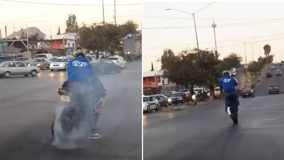 Ein Motorradfahrer will kräftig angeben und blamiert sich heftig.