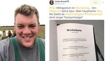 Landwirt Thomas Andresen (links) moniert auf Facebook über die Speisekarte der Bundestags-Kantine (rechts), die FDP-Bundestagsabgeordnete auf Twitter postete