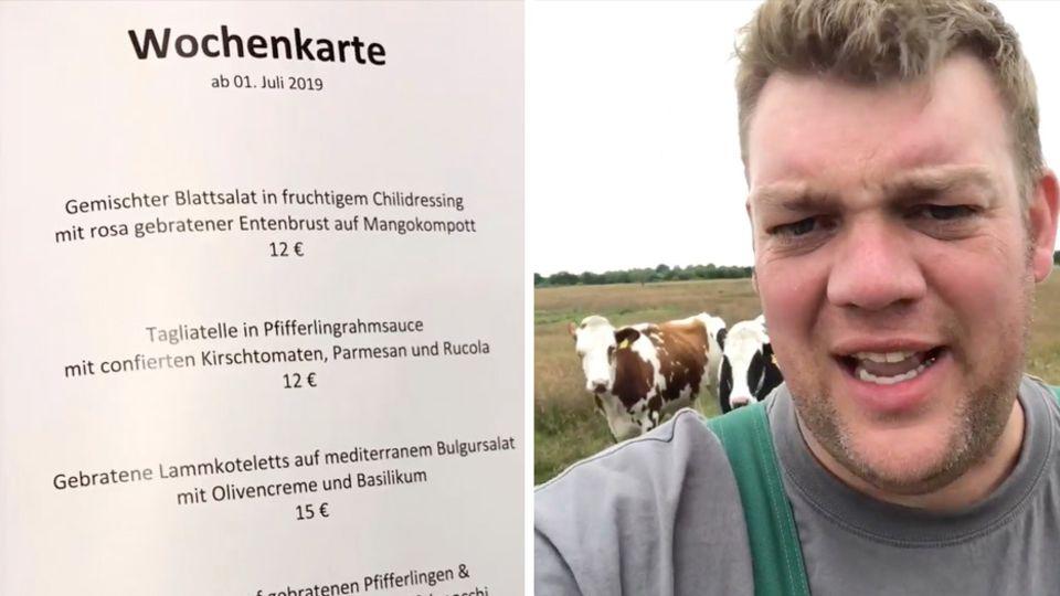Landwirt Thomas Andresen regt sichauf Facebook über die Speisekarte der Bundestags-Kantine auf