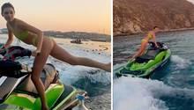 In einem Instagram-Clip zeigt Kendall Jenner einen Stunt auf einem Jetski – im ultraknappen Bikini.