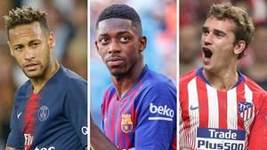 Neymar, Ousmane Dembélé, Antoine Griezmann (v.l.n.r.)