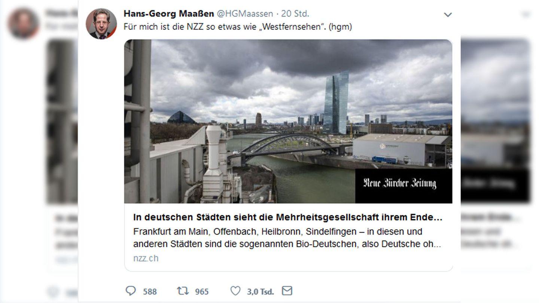 """Screenshot des Tweets, in dem Maaßen die NZZ als """"Westfernsehen"""" bezeichnet"""
