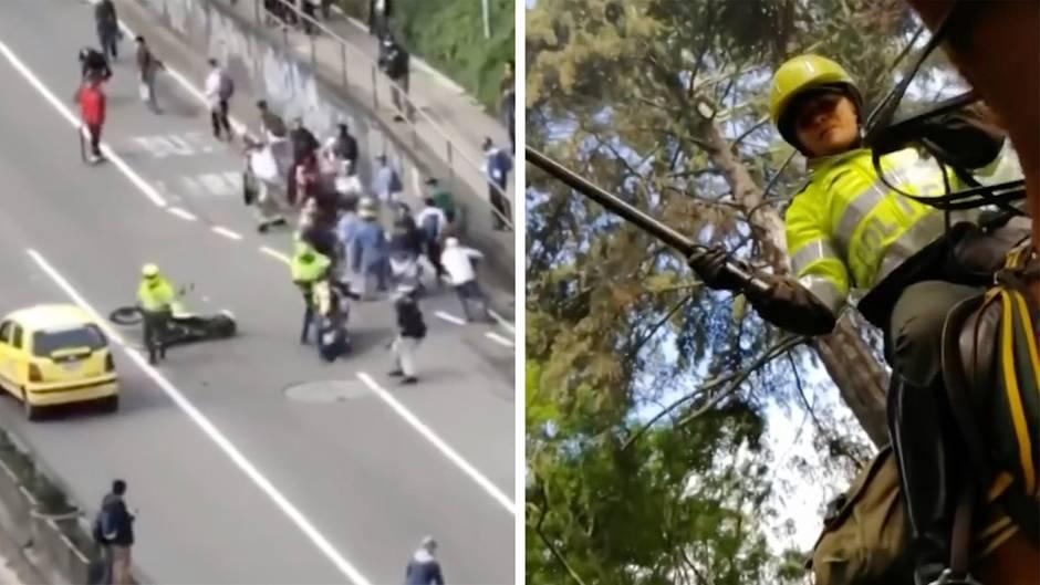 Polizisten kämpfen mit Skatern
