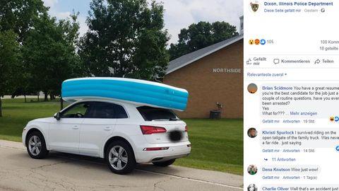 Eine Frau in Illinois wurde verhaftet, weil sie ihre Kinder im Planschbecken auf dem Autodach transportierte