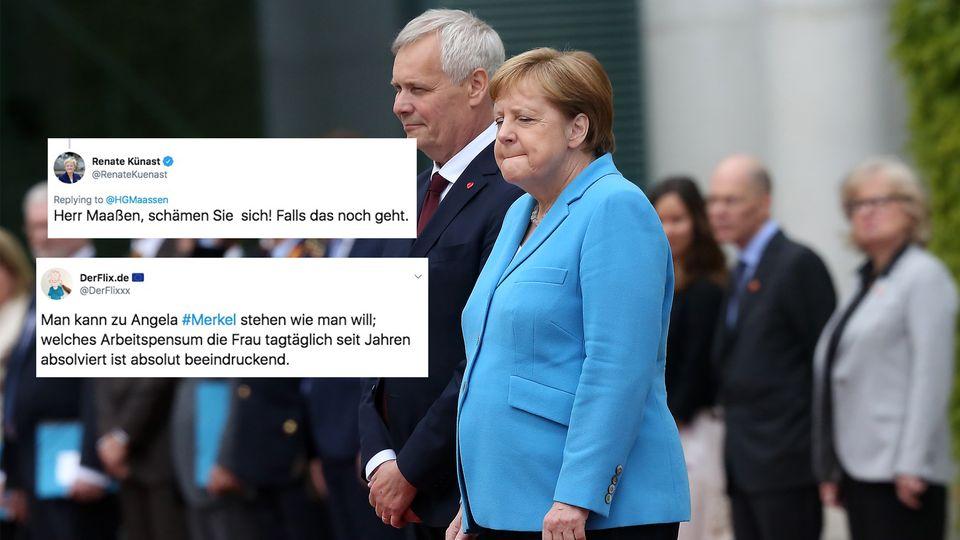 Angela Merkel erleidet zum dritten Mal innerhalb eines Monats einen Zitteranfall.