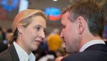 AfD-Fraktionsvorsitzende Alice Weidel und der Thüringer Landesvorsitzende Björn Höcke