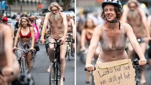 In Köln haben Radfahrer nur leicht bekleidet für bessere Radwege und mehr Schutz im Straßenverkehr demonstriert