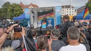 Björn Höcke, Landesvorsitzender der AfD in Thüringen, spricht beim Wahlkampfauftakt vor der Landtagswahl