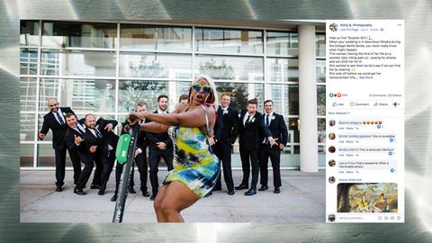 """Photobomb: """"Scooter Girl"""" rast durchs Bild: So müssen Hochzeitsfotos aussehen!"""