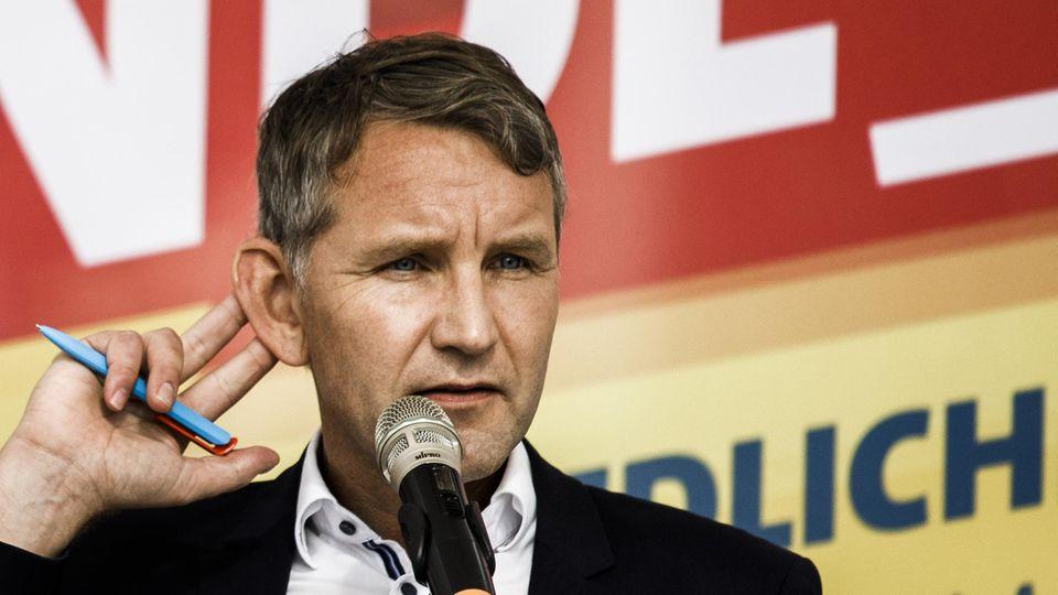 Björn Höcke (AfD), Landesvorsitzender Thüringen, beim Wahlkampfauftakt der AfD vor der Landtagswahl in Brandenburg