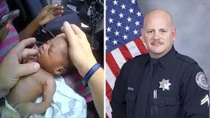 Links hält eine rechte Hand den Kopf eines Babys, eine linke fühlt dessen Hals. Rechts steht ein US-Polizist neben einer US-Flag