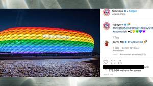 Allianz Arena in Pride Farben Instagram-Post