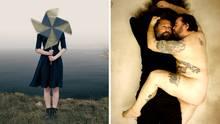 Collage: Frau steht in der Natur und hält ein Windrad vor das Gesicht; Zwei Männer, davon einer nackt, liegen auf einem Bett