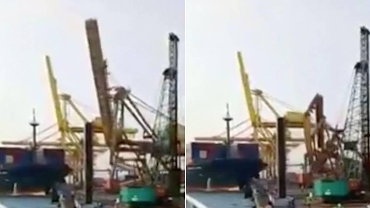 Indonesien: Containerschiff rammt Kran und dann passiert das Unvermeidliche