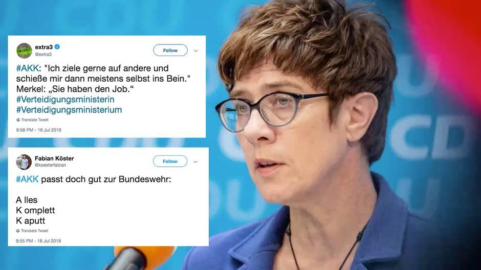 """Neue Verteidigungsministerin: """"Alles Komplett Kaputt - passt doch zur Bundeswehr"""": Twitternutzer reagieren auf AKK"""
