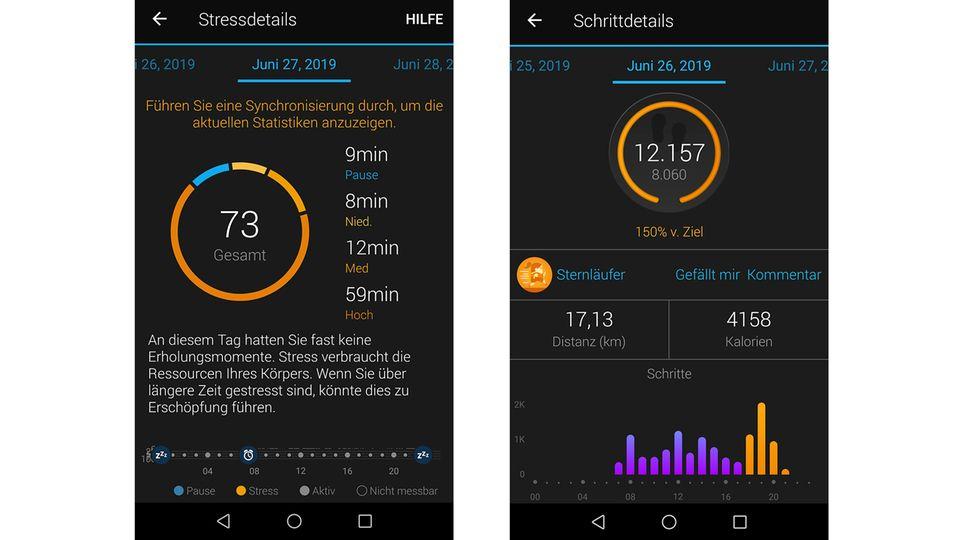 """Auswertung mit der Garmin Connect App: """"An diesem Tag hatten Sie fast keine Erholungsmomente"""""""