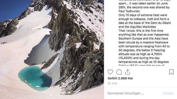 Die Aufnahme entstand am Dent du Géant, einViertausender in der Mont-Blanc-Gruppe