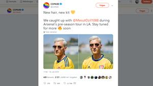"""Das Online-Portal """"Copa90"""" zeigte Özil mit neuer, platinblonder Frisur."""