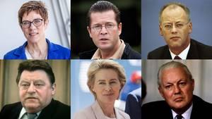 Eine Kombo zeigt sechs Gesichter von Frauen und Männern, die in Deutschland das Verteidigungsministerium geleitet haben